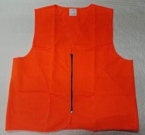 New Blaze Orange Hunting Safety Vest  Lightweight with Zipper M/L or XL/XXL