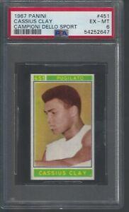1967 Cassius Clay Muhammed Ali PSA 6 Panini Campioni Dello Sport # 451 Beauty!