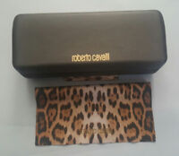 ROBERTO CAVALLI BROWN CLAMSHELL HARD SUNGLASS CASE WITH CLEANING CLOTH
