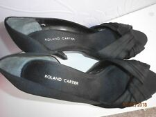 Roland Cartier  Size 4/36 high heeled 4 inch shoes  black satin effect