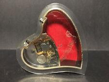SANKYO JAPAN HEART SHAPED FOOTED LIDDED MUSIC / JEWELRY BOX! LOVE ACRYLIC UNIQUE