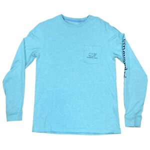 Vineyard Vines Teal Mens Pocket Tee Long Sleeve Size Small 100% Cotton Whale S