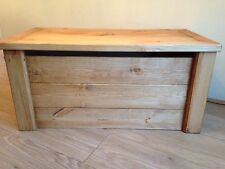 STAINED WOODEN TOY BOX/CHEST HandMade Pine  Blanket Box Ottoman SAFETY HINGE