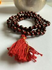 Rare Red Sandalwood Mala 108+1 Bead Hindu Japa Meditation Rosary Lal Chandan 6Mm