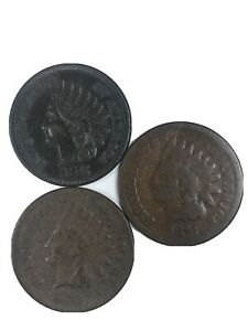 3 Indian Head Cents 1875(1) and 1876(2)