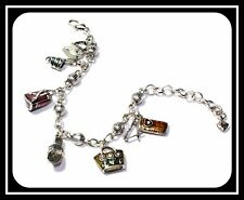 Brighton Vintage Silver Plated Bead Link Charm Bracelet With Six Enamel Charms