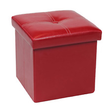 Bonlife Small Storage Ottoman Seat Faux Leather Folding Cube Toy Box for Kids