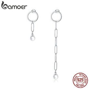 BAMOER S925 Sterling silver shell pearl Asymmetrical beauty Earrings For Women