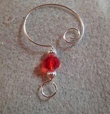 =^..^=  10 LT Bright RED Single Bead Chinese Crystal Ornament Hangers Hooks Slvr