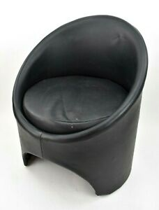 Vintage 1960's 'Gogo' Tub Chair by Roger Bennet for Evans Black Faux Leather