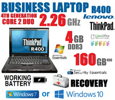 LENOVO BUSINESS LAPTOP 4TH GEN. CORE 2 DUO 4GB + 160GB NOTEBOOK DVD WIFI BATTERY