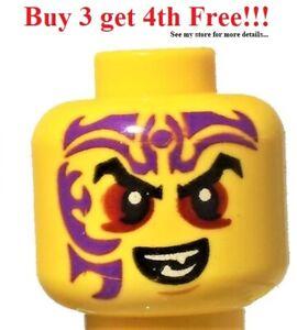 ☀️NEW Lego Minifigure Head Black Eyebrows Dark Red Eyes Dark Purple Tattoo Evil