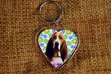 Basset Hound Keyring Dog Key Ring heart gift Birthday Gift Xmas Mothers Day Gift