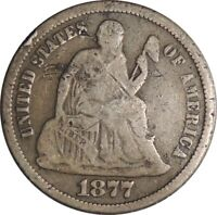 """1877-P LIBERTY SEATED SILVER DIME VG DETAILS CULL / DAMAGE / """"BENT"""" (050921522)"""