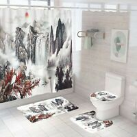 Scenery Shower Curtain Set Bathroom Rug Thick Non-Slip Toilet Lid Cover Bath Mat