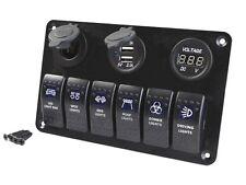 6 Gang Car Marine Boat Circuit RV LED Rocker Switch Panel Breaker Voltmeter USB