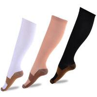 Fashion Copper fibers Compression Socks Unisex Patchwork Pressure Sport Stocking