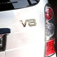 1PC 3D Silver Car Trunk Auto Motor V8 Rear Emblem Decal Badge Sticker Metal