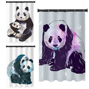 Cute Panda Animal Water Repellent Bathroom Shower Curtain Liner with 12 Hooks
