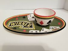 Dantes Design Group Chip Dip Ceramic Bowl Platter Las Vegas Casino Cards