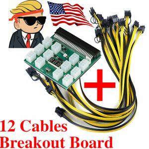 HP PSU Breakout Board + 12 PCIE Cables 50cm GPU 6PIN 1600W Mining Power 12Ports