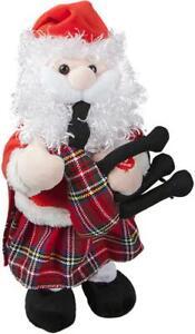 Animated Dancing Musical Santa with Bagpipes and Kilt 30 cm tall - Xmas Novelty