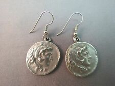 "VTG Face Coin Earrings Pewter Silver 1.75"" Round Dangle 2 Sided Figure Bird"