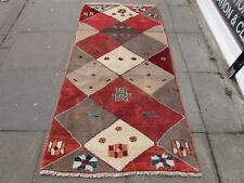 Traditional Hand Made Persian Rugs Oriental Gabbeh Wool Red Brown Rug 204x102cm