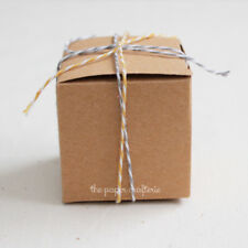 20 x KRAFT SQUARE FAVOUR BOXES Small Cardboard Wedding Bomboniere Rustic