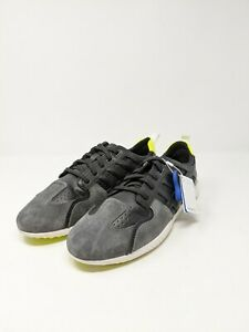 GEOX Respira Men's Lace Up Leather Sneaker Size 12.5 US Black Grey Yellow NEW
