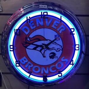 Denver Broncos NFL Blue ,white Neon Wall Clock Car Truck Automotive Sign