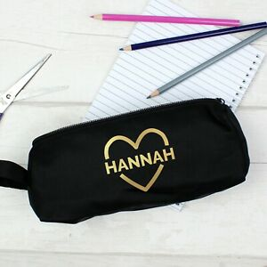 Personalised Gold Heart Black Pencil Case Back To School Girls Pencil Case Gift