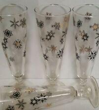 "REDUCED 4 MCM Atomic Pilsner Glasses Black & Gold Starburst Snowflake 8 1 /4 """