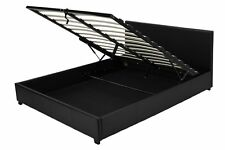 VORVERKAUF Kunstlederbett Doppelbett 160x200 Schwarz mit Lattenrost Angehoben