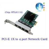 4 Port 1000Mbps RJ45 PCI express Network Card PCIe to Gigabit Ethernet LAN Card