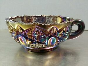 L.E.Smith Purple Amethyst Iridescent Carnival Glass Nappy Bonbon Candy Dish