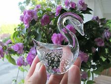 "Crystal Swan Figurine Paperweight 3.5""  Heavy Glass Paper Weight >L@@K"