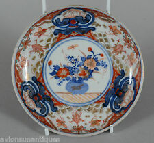 Fine Japanese Antique Imari Porcelain Shallow Bowl Red Blue Gold 5 7/8""