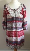 Indigo Collection Size 12 Ladies Multi Coloured Tunic Dress, Summer Sun Day