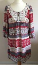 Indigo Collection Size 12 Ladies Multicoloured Tunic Dress, Summer Sun Day
