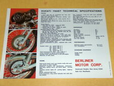 NOS Ducati 750 GT Brochure  the one with THE GIRL sport
