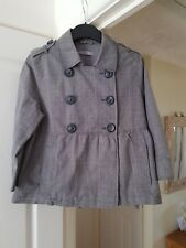 Marks & Spencer Grey Mix Check Jacket, 3/4 Sleeves, Collared, Size 10, GC