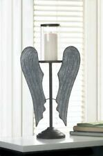 country Rustic primitive Angel wing pillar candle holder memorial wedding statue