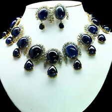 """NATURAL SET BLUE SAPPHIRE & ZIRCON CAMBODIA NECKLACE 21"""" & EARRINGS 925 SILVER"""