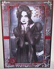 handmade gothic pagan christmas card with a demure lady in black & snowflakes