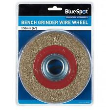"""BlueSpot Clearance Bench Grinder Brassed Wire Wheel 150mm 6"""" + Spacer Rings"""