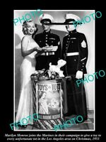OLD POSTCARD SIZE PHOTO OF MARILYN MONROE AT TOYS FOR TOTS EVENT 1953 MARINES