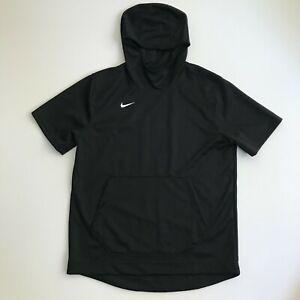 Nike Men's Large Dri-Fit Short Sleeve Basketball Hoodie Black White AT5406-010