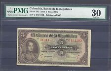COLOMBIA  BANKNOTES $5 1923 PMG CERTIFIED 30 VERY FINE