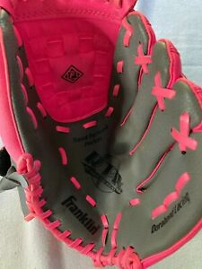"""Franklin 10.5"""" Pink & Grey Baseball Glove Youth Right Handed Thrower"""